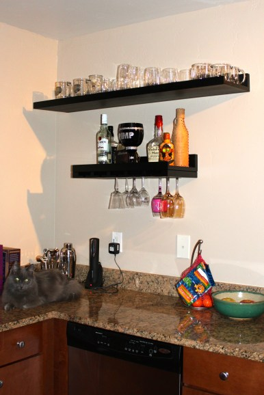 After: Kitchen, added shelving for storage