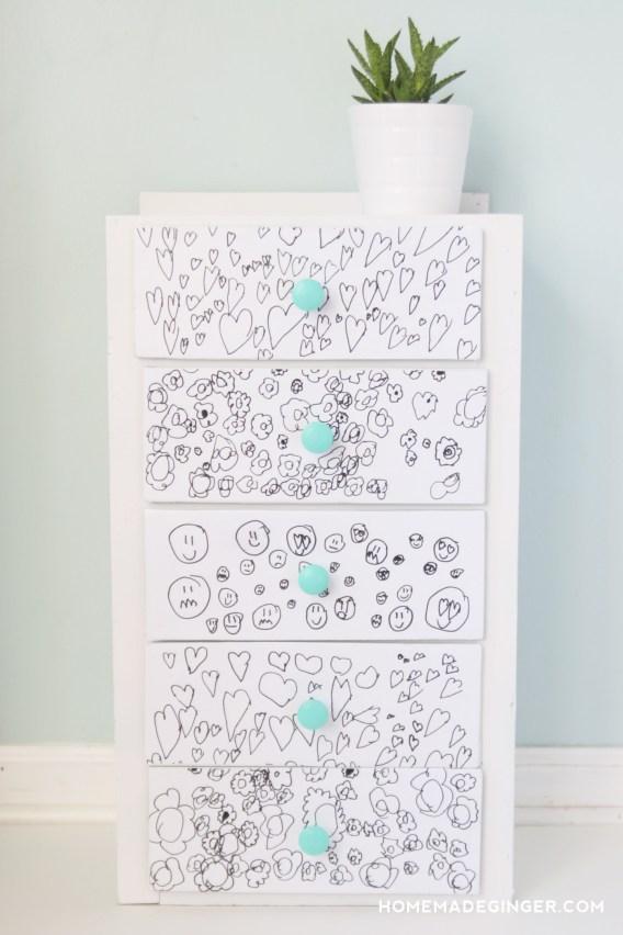 fun kids dresser with artwork