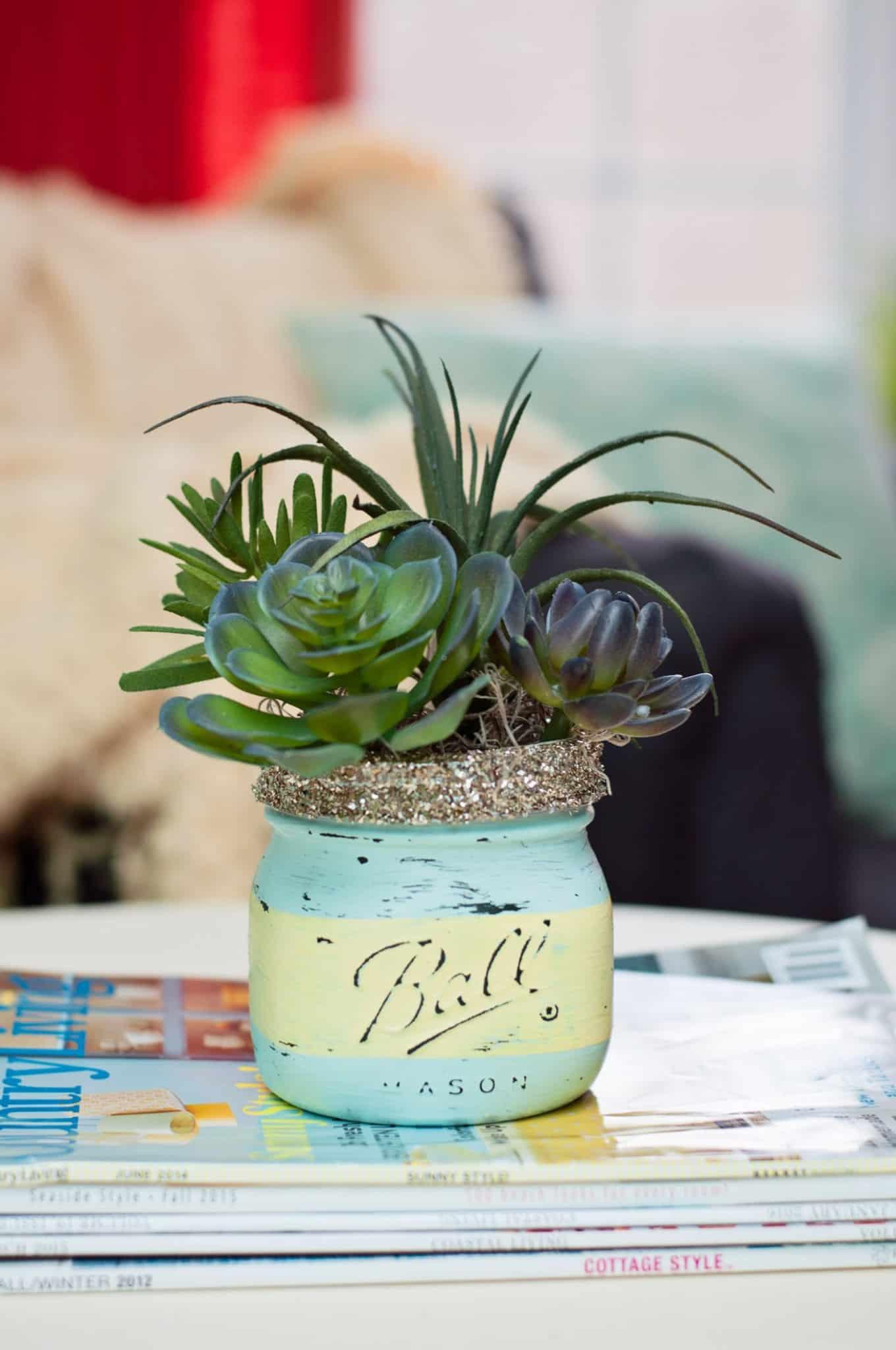 Spring Craft DIY Mason Jar Succulents Mod Podge Rocks