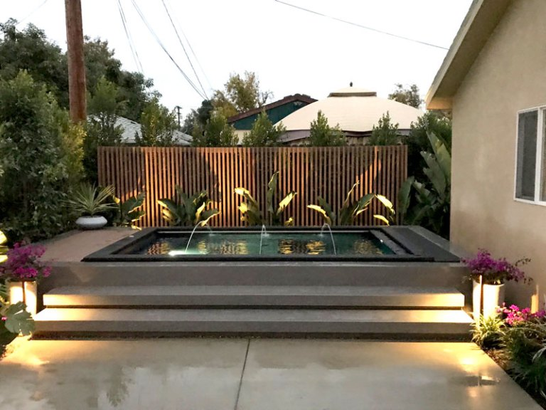 Modpool shipping container pool installed for Rebel Wilson's best friend for the tv show Property Brothers Celebrity I.O.U.