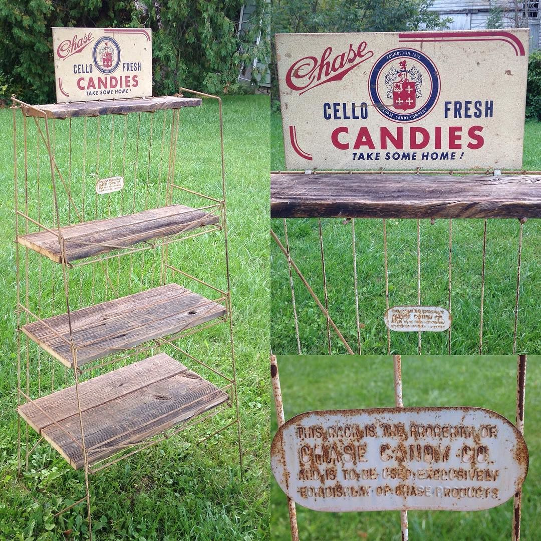 Vintage candy display with barn wood.