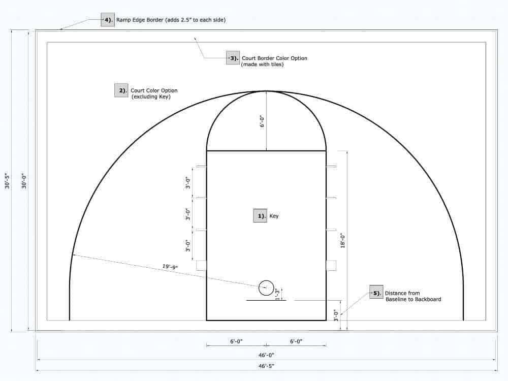 Half Court Basketball Floor, 46x30, Kit