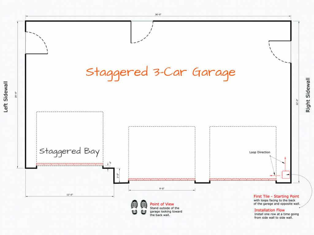 hight resolution of interlocking floor tile installation starting point staggered 3 car garage plan
