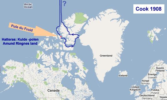 Kart med Cooks reiserute til/fra Nordpolen