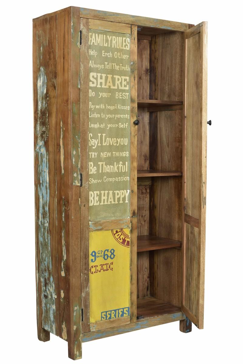 Schrank Vintage Kleiderschrank Cedric 53 Vintage Braun 157x205x53