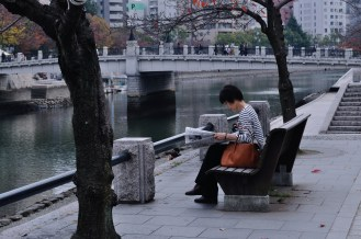 random stranger reading the paper