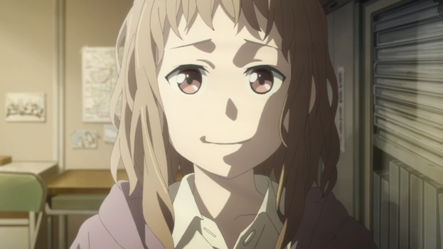 Anime girl with floofy hair about to cry with a smile on her face