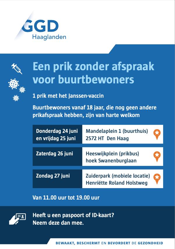 Zaterdag 26 juni op Heeswijkplein GRATIS tegen corona vaccineren