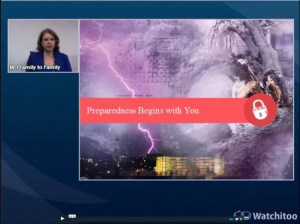 Screenshot: Preparedness Begins with You webinar screen