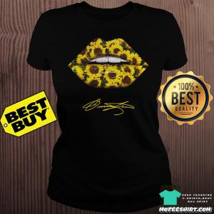 Lips Mouth Sunflower Signatures ladies tee