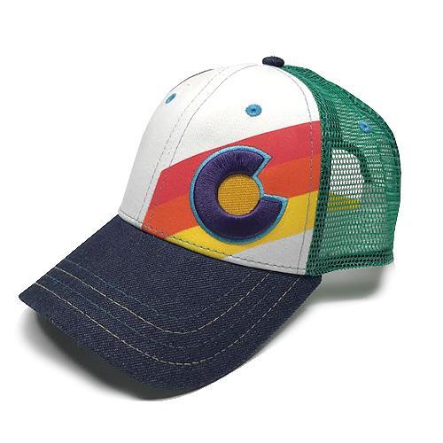 Incline Rainbow Denim-Trucker Hat Small