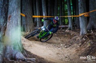 Kirk McDowall riding in the Elite Mens Category negotiating tight trees at the BC Cup in Fernie Alpine Resort - 31st August 2014