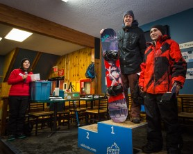 Kinky Rail Jam- Fernie Alpine Resort - 10 January 2015, In the Men's 16 & Over Snowboard: 1st Alex Thomas, 2nd John Graham, 3rd Shane Yargean