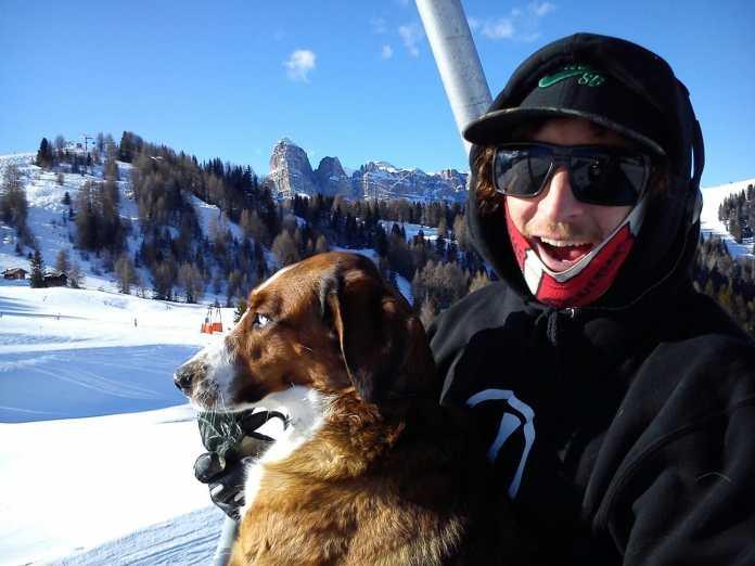Cody Ferris-Heath with dog, mogasi