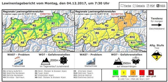Lawine.tirol, Lawinenwarndienst, Avalanche Bullertin, Avalanche Warning Service, Tirol, Mogasi