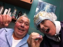 """Getting my hair colored for the first time since transplant! Poppy Rocco doing his """"oh yea?!?!?"""" Lol."""