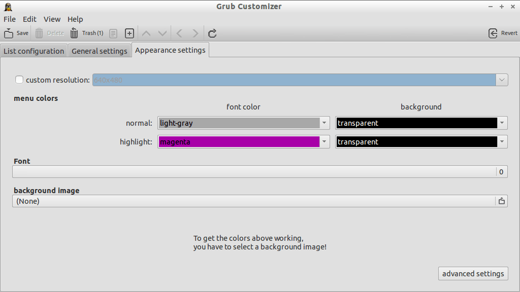 Grub Customizer_Appearance Settings