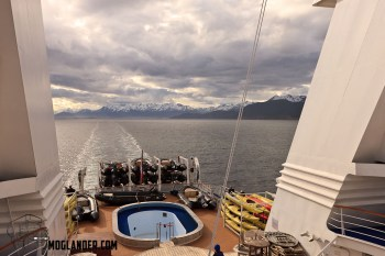 The view from the back of the ship as we left Ushuaia. Zodiacs and kayaks at the ready.