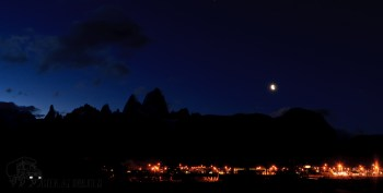 The moon over Mount Fitzroy and El Chalten
