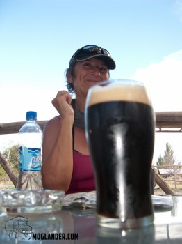 Angie contemplating a pint of stout.