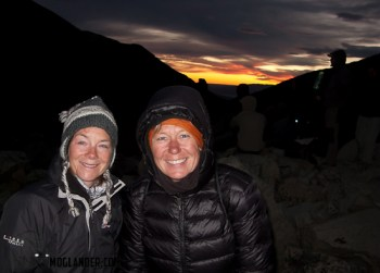 Sarah and Ruth hiking up to Torres in the pre-dawn light