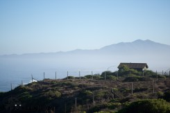 Sea Mist over clifftop cabin