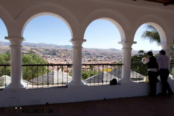 a couple overlook Sucre in Bolivia