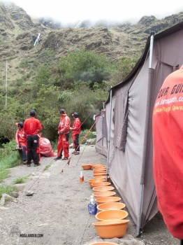 Our porters had a bowl of hot water for each person to wash in as we arrived into camp.