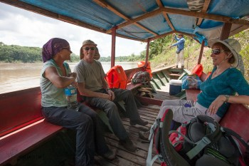 Setting off on a riverboat to the Jungle with Claire and Robin