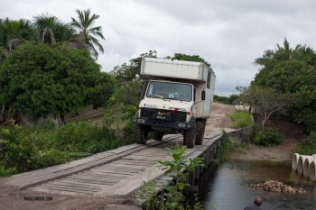 unimog camper on bridge