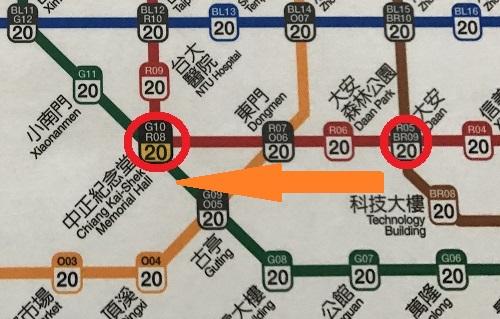 台北路線図 中正紀念堂