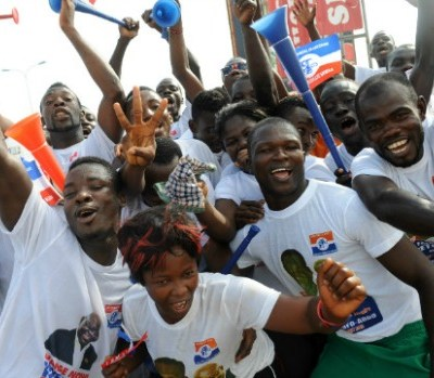 Supporters of Ghanaian opposition candidate Nana Akufo-Addo of the New Patriotic Party, Kasoa, Dec. 1, 2012. Photo: Getty