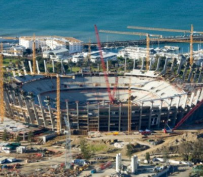 90795315 The Green Point Stadium under construction in Cape Town prior to the 2010 FIFA World Cup. It can hold 68,000. Getty