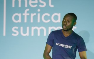 Accounteer's Adegboye Henry pitching during the MEST Africa Challenge in Cape Town. Photo - MEST