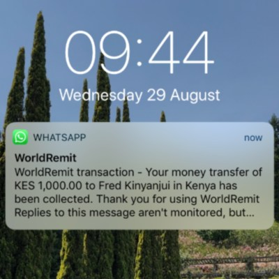 Money transfer company WorldRemit is now integrated with WhatsApp. Photo - WorldRemit