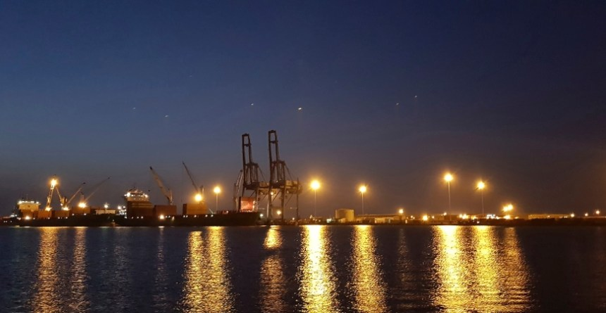 A night view of the port of Djibouti. Africa's transport infrastructure provides investment opportunities. Photo - AP - Elias Messeret