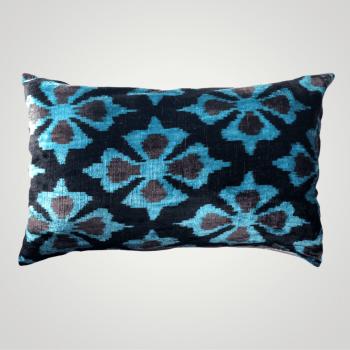 silk velvet ikat pillow cyan blue color