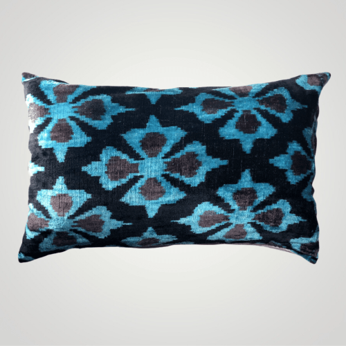 silk velvet ikat pillow cyan blue color