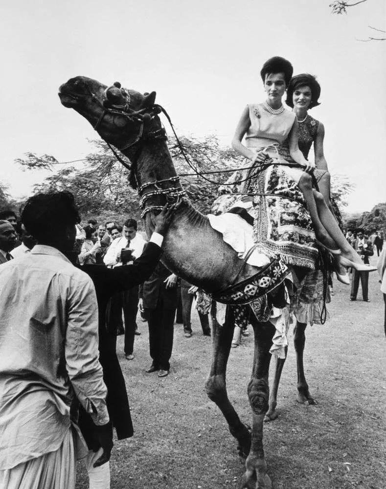 Jackie Kennedy Rides a Camel in Karachi