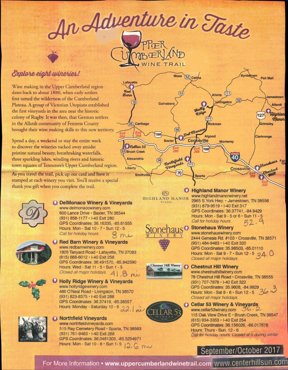 Upper Cumberland Wine Trail 2017-2