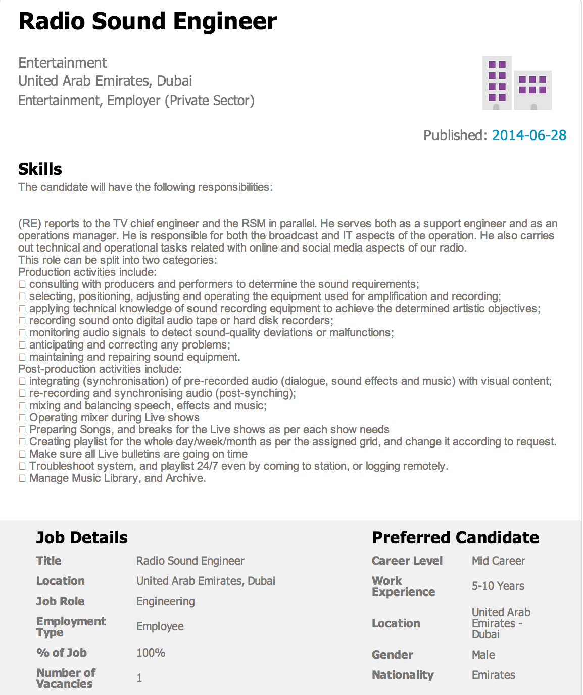 CIU Assignment CV and Cover Letter Audio Sound Engineer