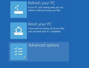 Windows 10 selecting advanced options