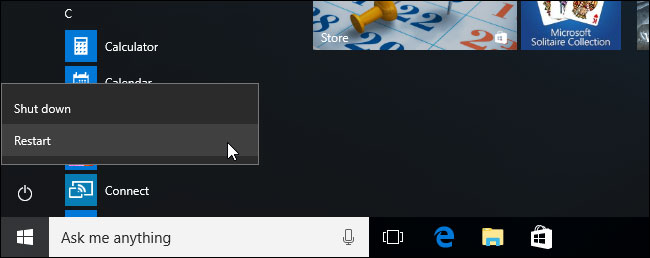 Windows 10 shift plus restart