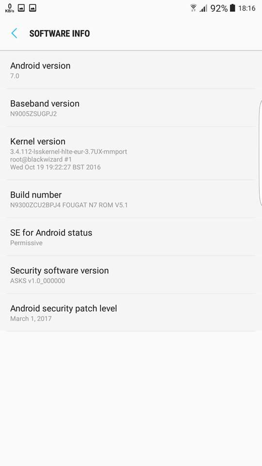 Galaxy S8 Software info