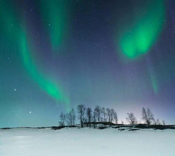 Aurora over small island