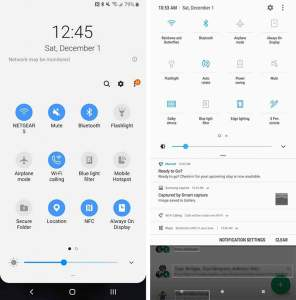 Galaxy Note 9 One UI vs SE Quick Settings