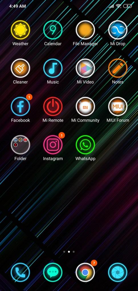 واجهة عرض التطبيقات لثيم Neon 999