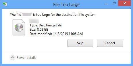 مشكلة File Is Too Large على الويندوز