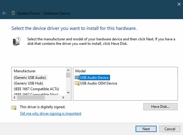 Manually Install Xiaomi USB Drivers Click on the Have Disk option