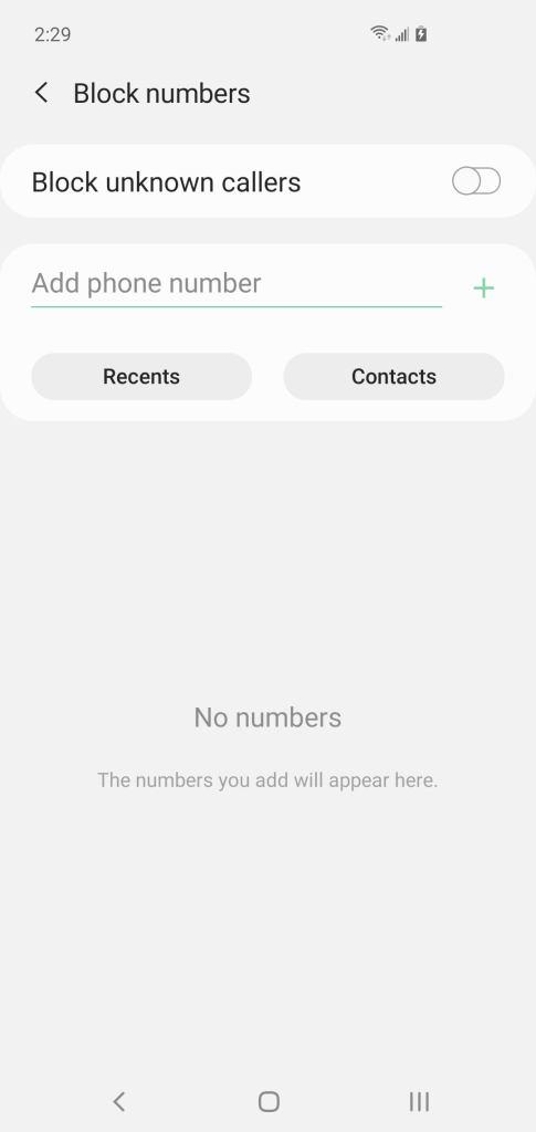 حظر رقم هاتف على موبايل سامسونج